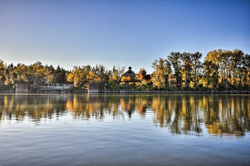 The Willamette River runs right by the home.
