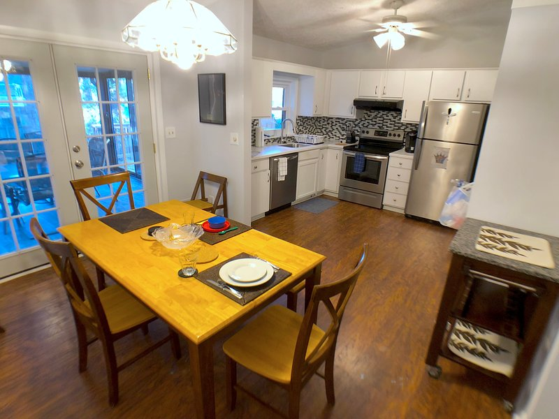 Our large kitchen and dining room are perfect for families to share in preparing meals.