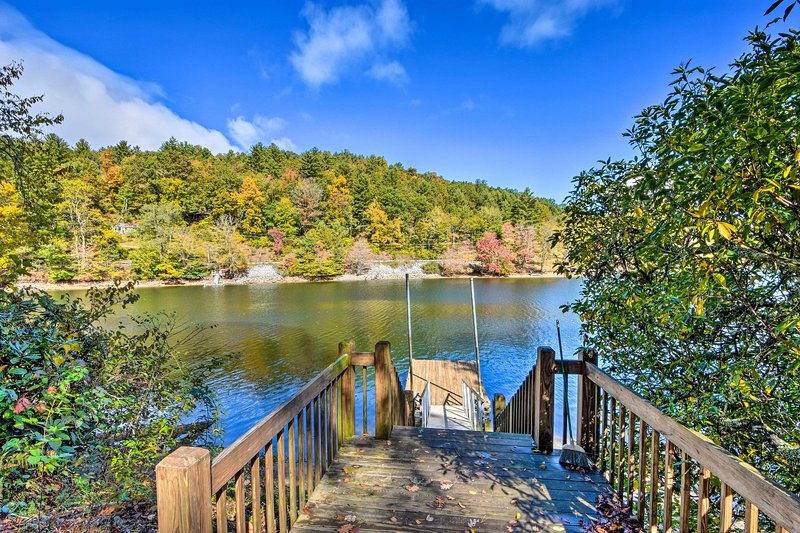 Located just up from Lake Glenville, the home features a private dock!