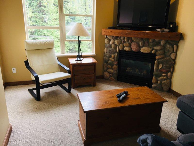 Salon confortable et cheminée