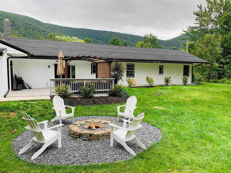 back yard, fire place, patio, mountain view