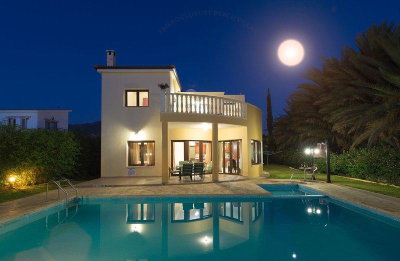 Villa Tsikkos Tria: Beachfront premium location, private pool, A/C, vacation rental in Limni