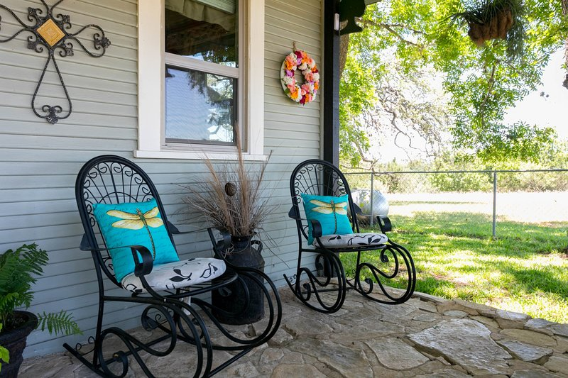 2 comfortable rocking chairs for enjoying the outdoors