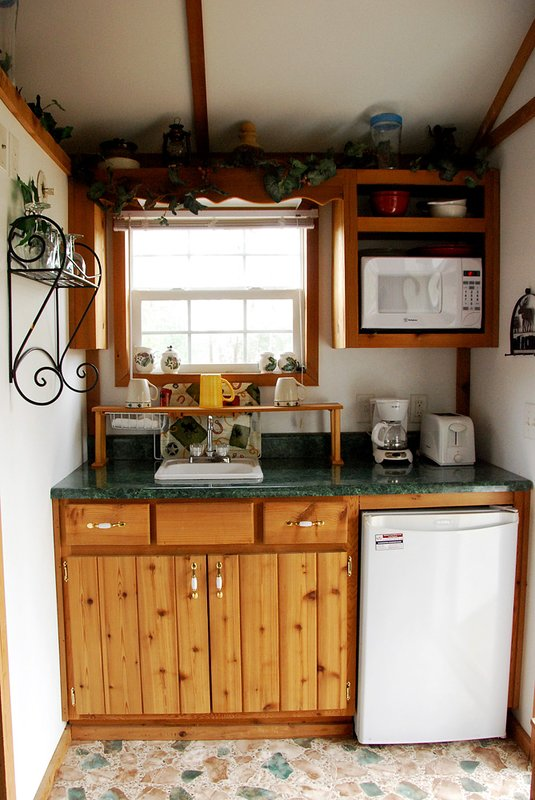 kitchenette has extra cooking appliances
