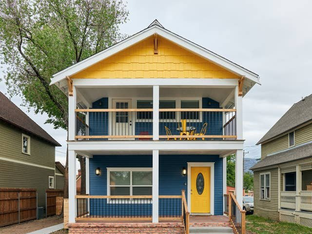 This unit is one of four in this colorful, welcoming building