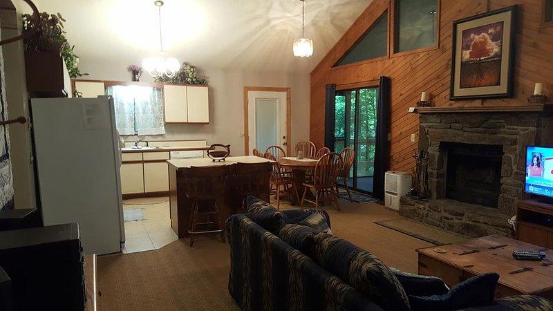 Woodland's Cabin, vardagsrum till kök med öppen spis