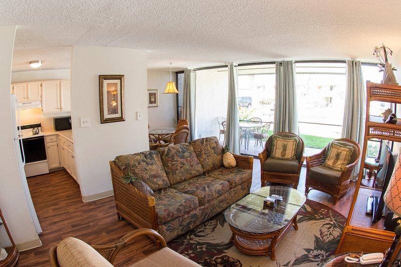 Spacious living room with many seating options