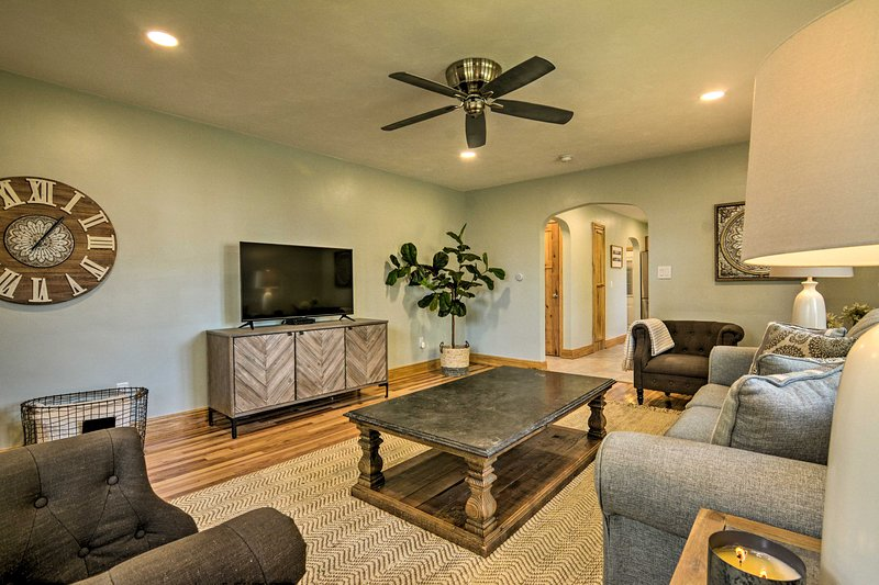 Unwind in the living space, complete with a flat-screen Smart TV.