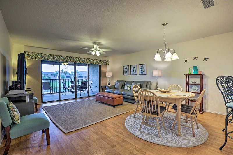 The open floor plan allows the home to feel airy and inviting.