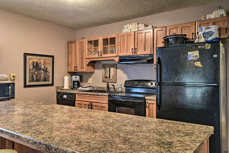 With a fully equipped kitchen, this vacation rental can easily host 10.