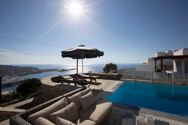 Psarrou villa for 10 guests, stunning sea views, holiday rental in Psarou