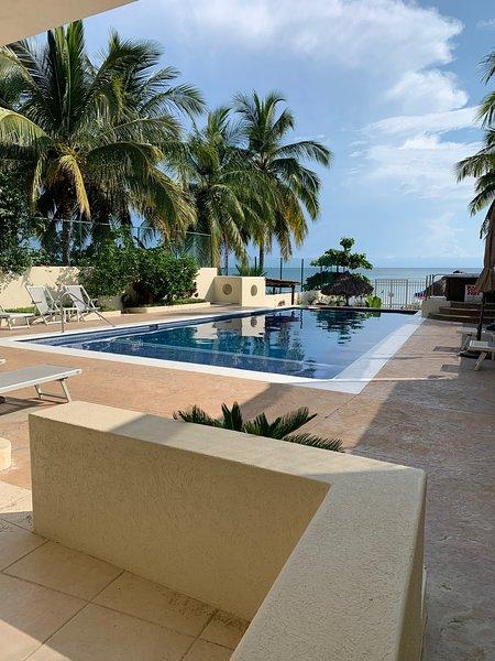 La piscine avec bain à remous spa à droite ... descendre à une cuisine extérieure et grill