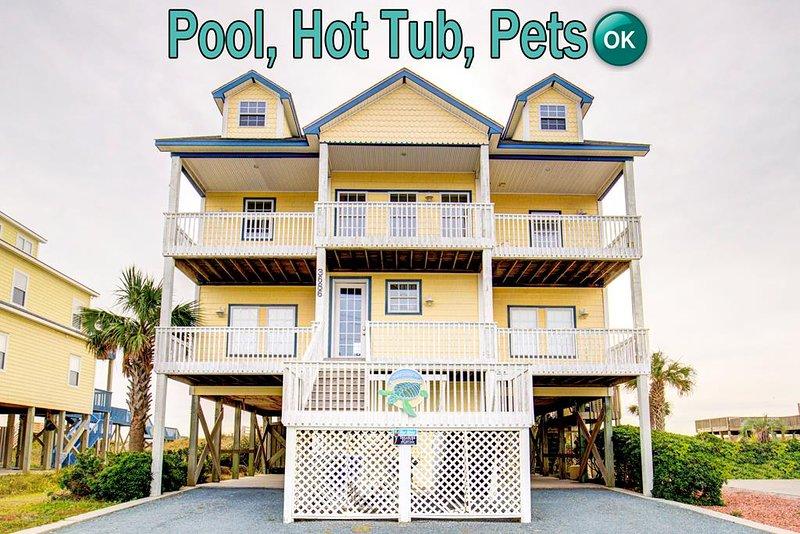 Island Drive 3686 Oceanfront! | Private Heated Pool, Hot Tub, Jacuzzi, Internet,, location de vacances à North Topsail Beach