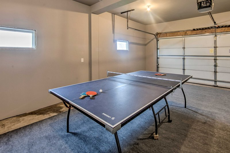 There's ping pong available in the garage.