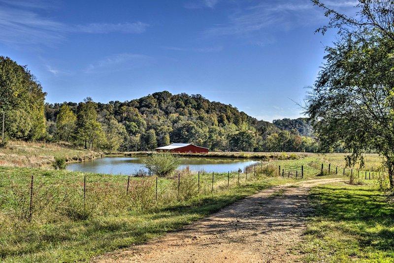 Situato su 100 acri di terra, questa cabina di Lawrenceburg dispone di un fienile di nuova costruzione!