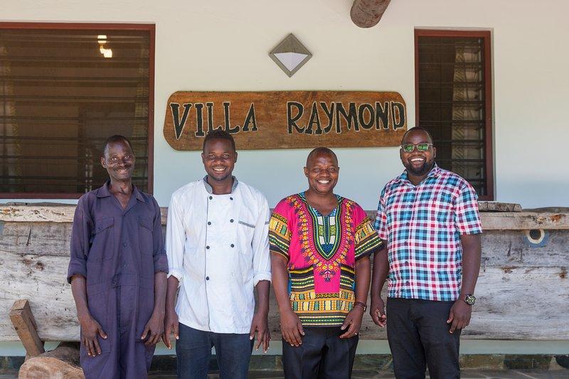 Villa Raymond team.  Godfrey (Gardener), Rua (Chef), Salim (Housekeeper) & Bonnie (Manager)