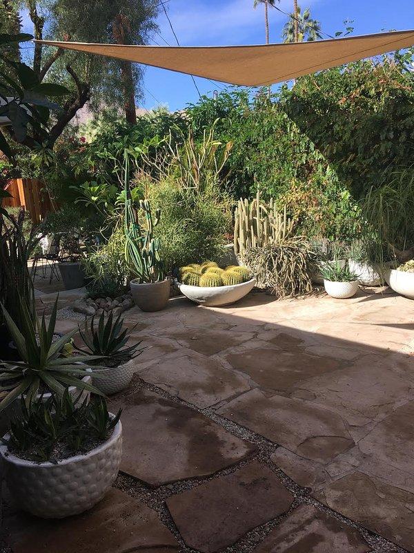 Cour arrière patio et jardins.