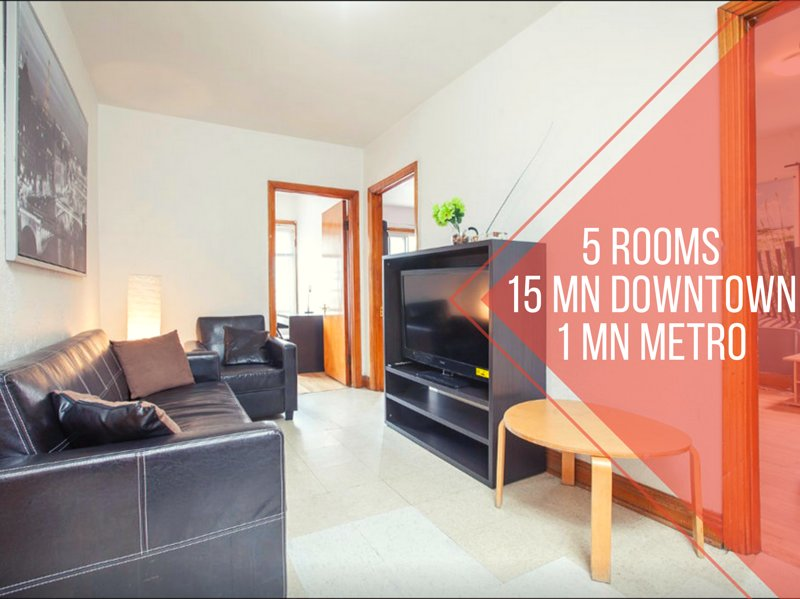 5 rooms apart, 15 min to downtown, 1 min metro, vacation rental in Montreal