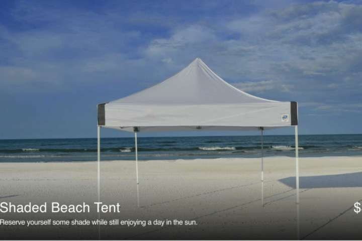 Reserve a shade tent from Siesta Beachside Services for delivery at this beach!  Prices/availability subject to change.