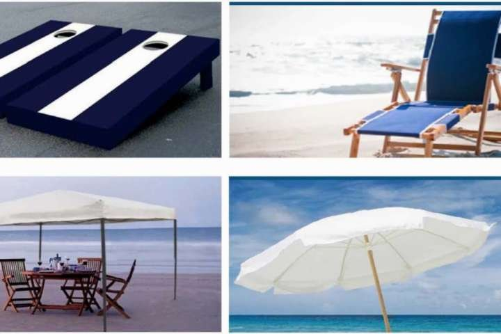 Also available for rent/delivery through the beach service:  shade tents, beach umbrellas, lounge chairs & bean bag games