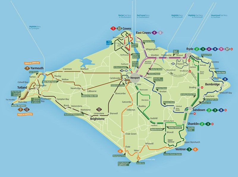 Isle of Wight Bus Route Map