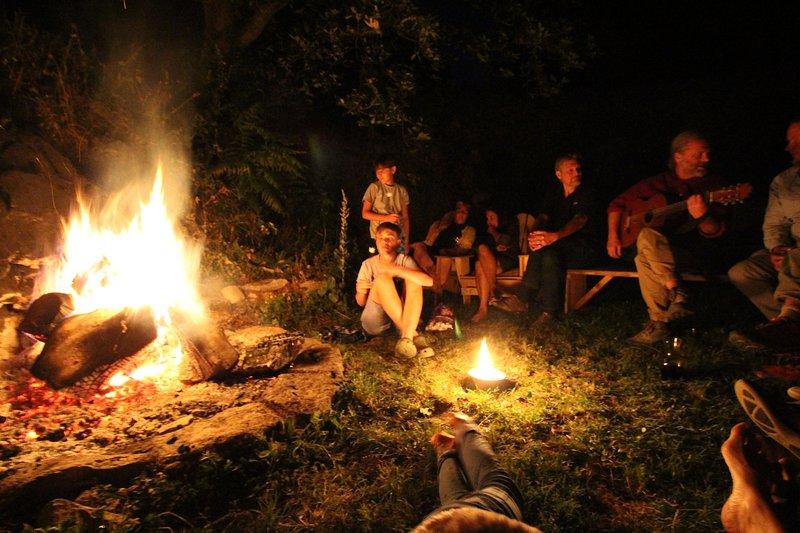 Summer evening fireside singsong