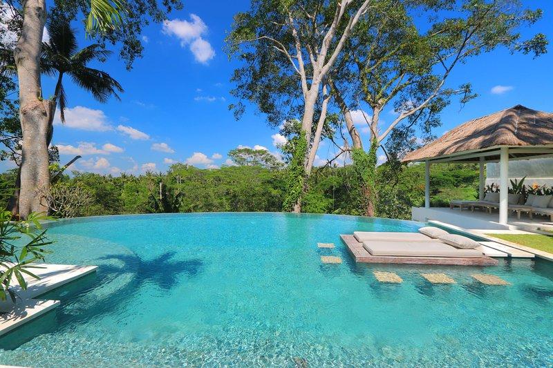 Grande piscina a sfioro di fronte alla lussureggiante giungla di Ubud