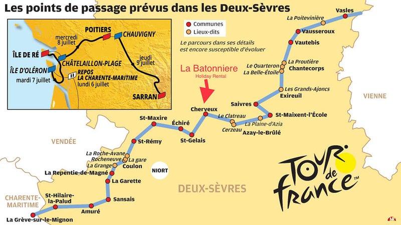 Tour de France 2020, La Batonniere staat centraal in de etappes in de Deux Sevres