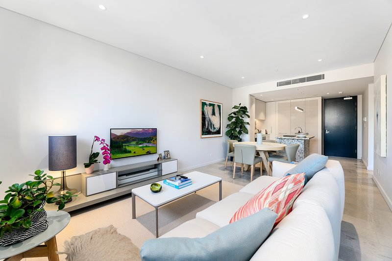 The open plan living area is fully furnished