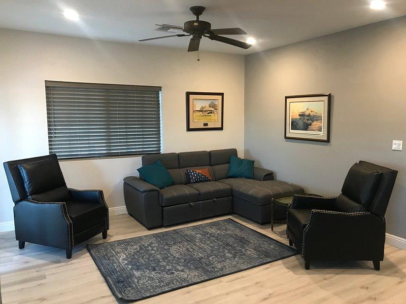 Grande chambre spacieuse avec deux chaises longues et un canapé qui se transforme en un lit double.