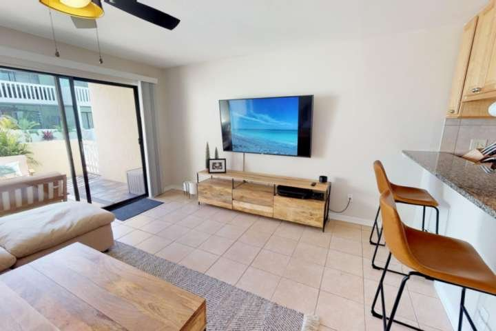 Living room with a 65' flat screen really SMART TV!  Internet included!  New Sheers were added to the sliding door.