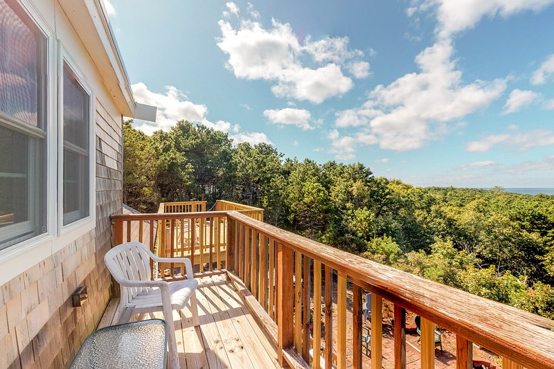 Renovated home w/ amazing bay view & multiple decks - near beach, dogs OK!, vacation rental in Truro