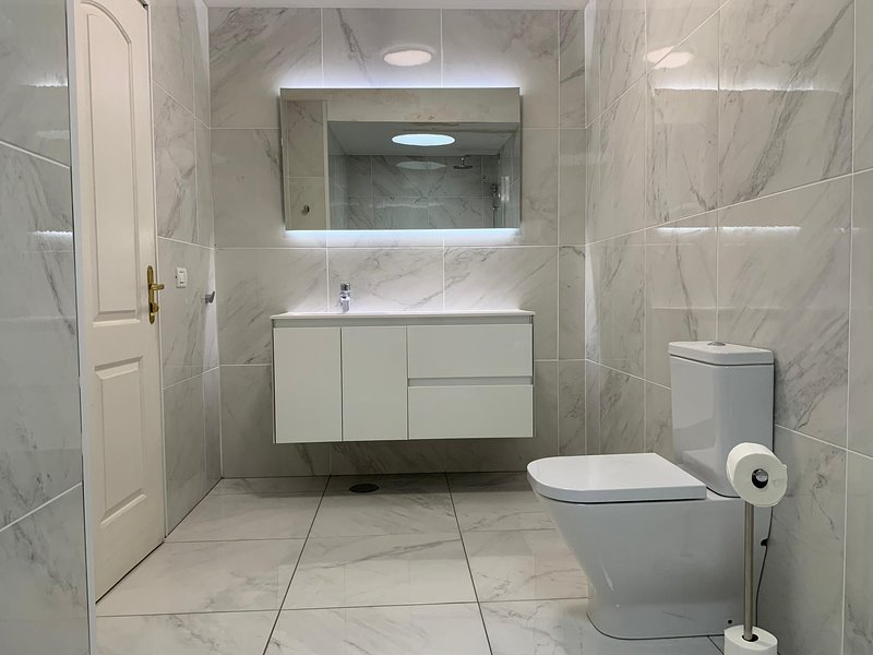 new bathroom, fully tiled, large wash basin, close fitted toilet and walk in shower area. LED lights