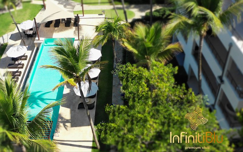 Amazing lush greenery garden with a pool from a bird's eye view!! There's no place like INFINITI BlU