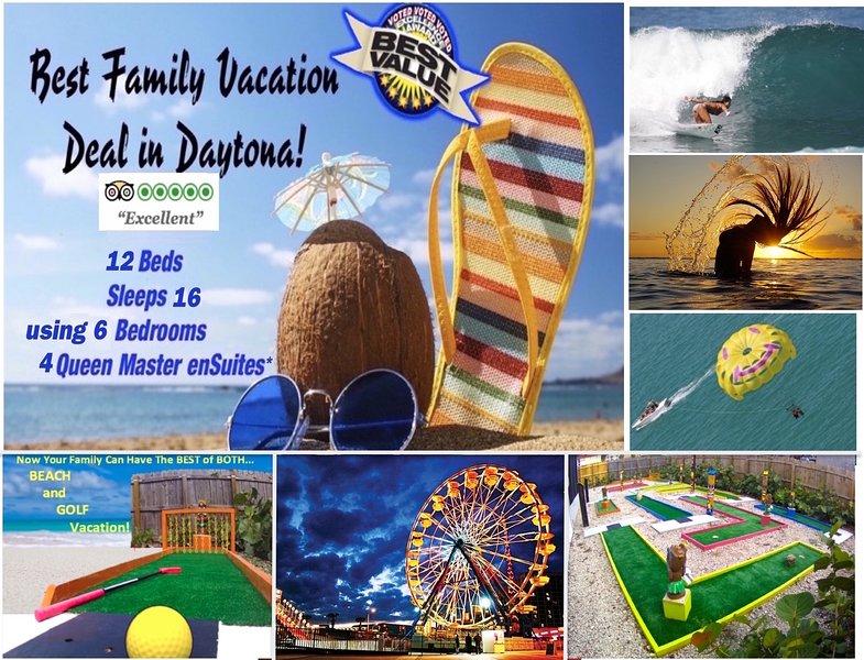 Voted Daytona's BEST FAMILY FUN in the SUN BEACH VACATION - 2 min walk to beach!, holiday rental in Daytona Beach