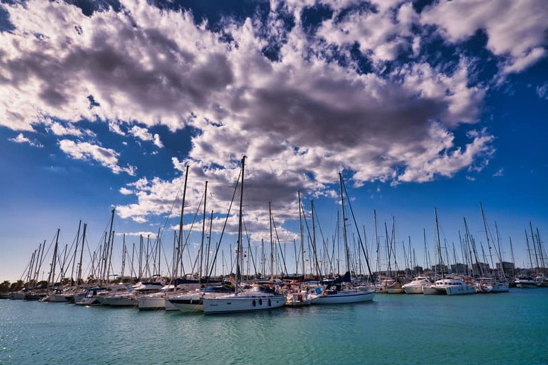 Modern Day Vessels at anchor Torrevieja Harbour