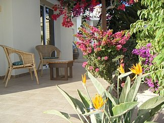Colorful front terrace