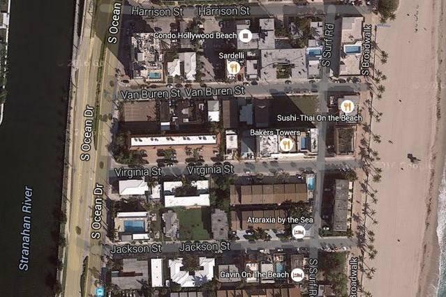 google map of area Hollywood Beach S. Broadwalk