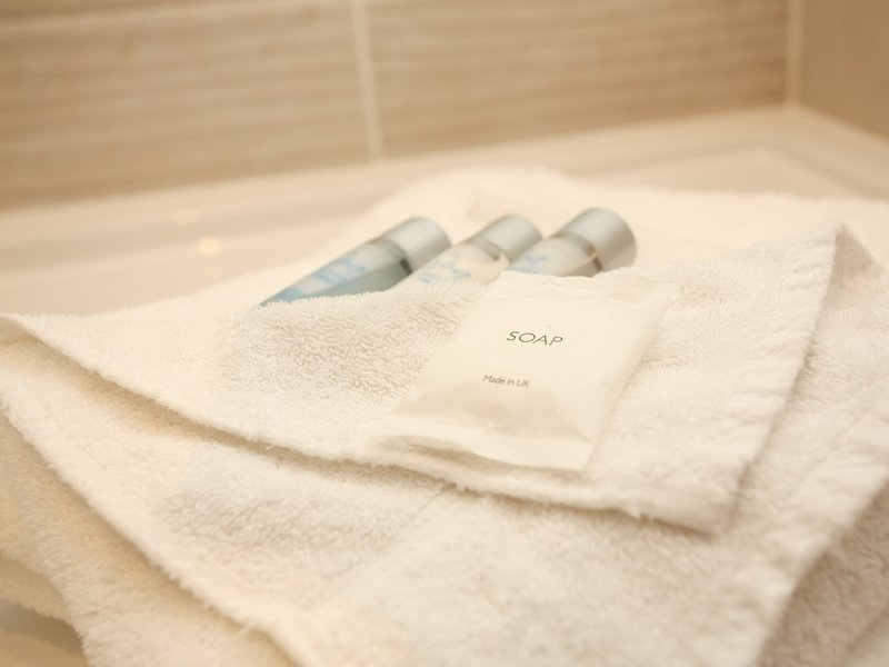Soft and fluffy bathroom towels included