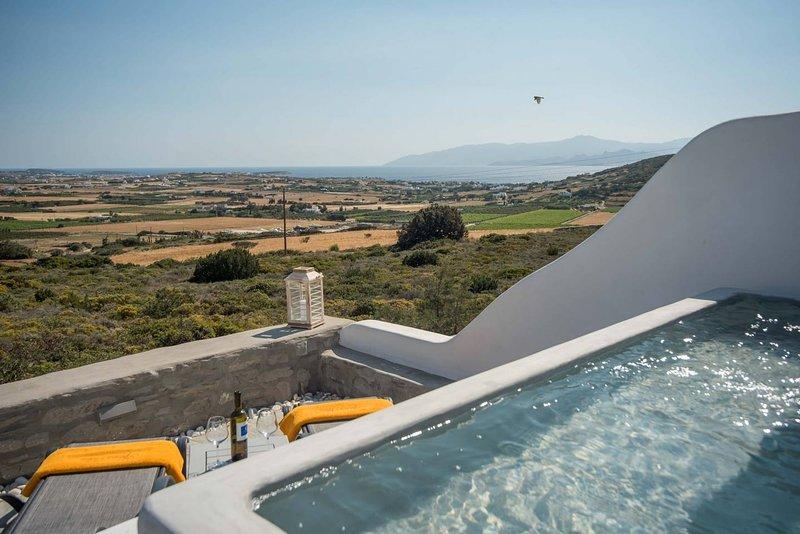 Villa Philoxenia · Gorgeous island villa with plunge pool & sea views, holiday rental in Isterni