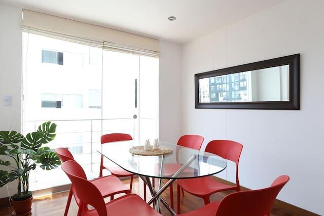 Dining room with nice balcony