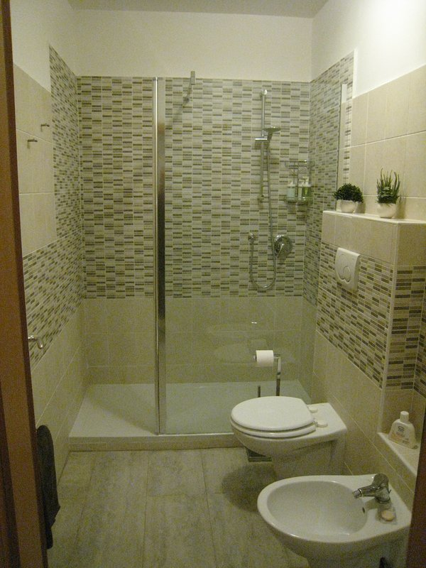 Bathroom with new shower, toilet and bidet