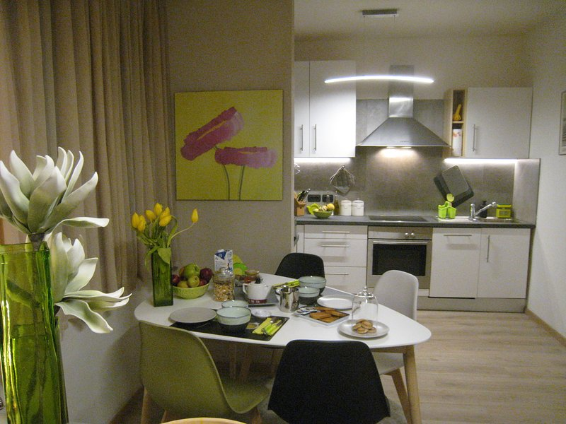 Dining area with equipped kitchen