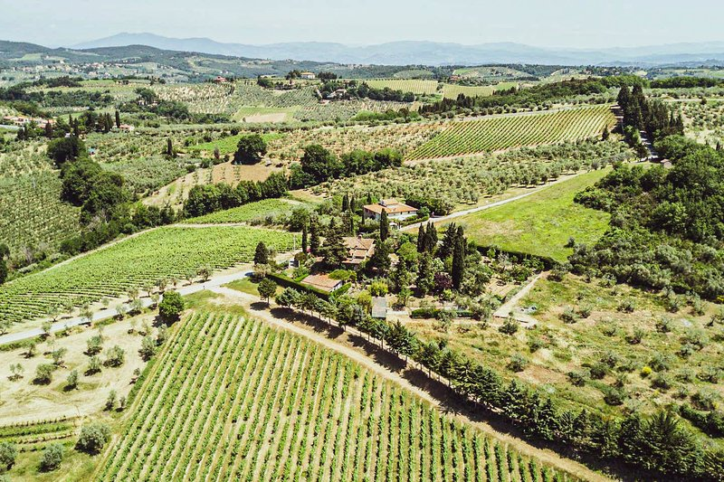 Aerial view of the property. Sits on top of a local vineyard.