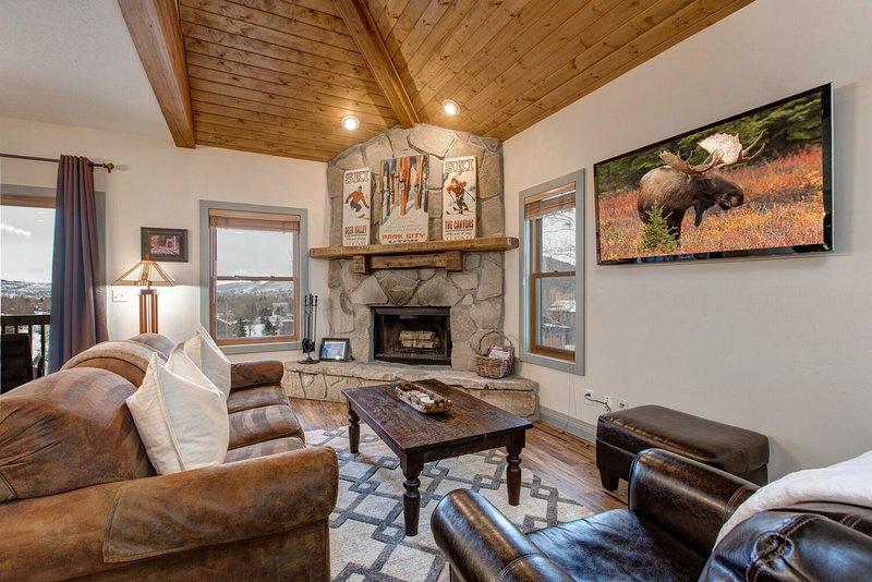 Sala de estar com sofá-cama, TV com programação DirecTV, lareira a lenha com gás e vistas de todas as janelas ou portas