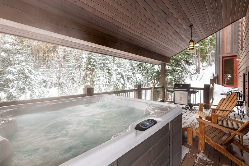 Let the sore muscles soak in the private hot tub