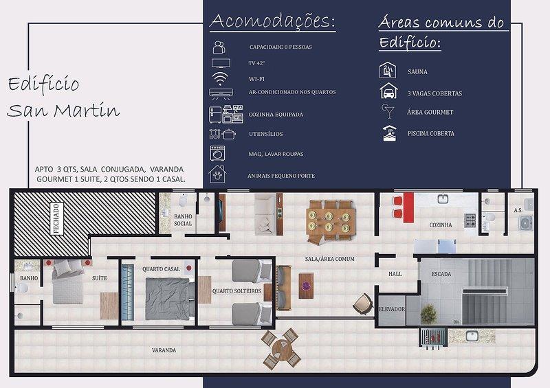 Lindo Apartamento, 3 quartos com vista de Frente pro Mar - Praia das Dunas, vacation rental in Cabo Frio