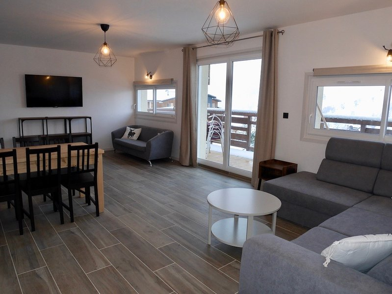 Superbe appart refait à neuf, 16/18pers, skis aux pieds, WIFI, SAUNA, BABYFOOT, holiday rental in Mizoen