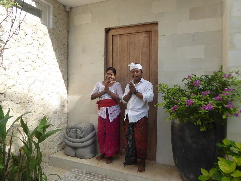 The Villa has 3 full-time staff.  This is the Manager, Mr Edi and The Housekeeper, Miss Komang