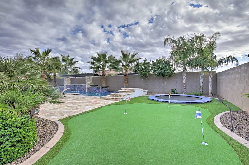 Practice your short game or jump on the trampoline.